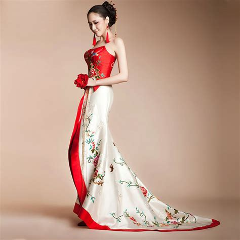 Asian Wedding Dresses by Strapless Embroidered Floral Trailing Asian Inspired