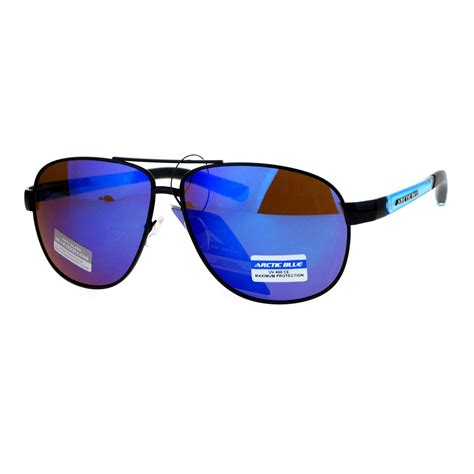 Mirrored Lens Aviator Sunglasses arctic blue bluetech mirrored lens metal sporty aviator