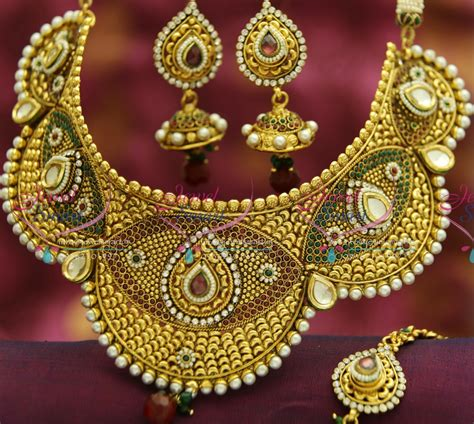 Set Bridal India Kalung India Premium Aamh021 nl3492 antique broad handmade choker grand necklace wedding indian bridal jewellery