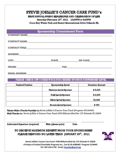 sponsorship registration form template 2011 health fair sponsorship