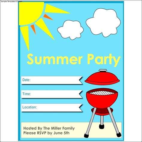 summer party flyer template sle templates