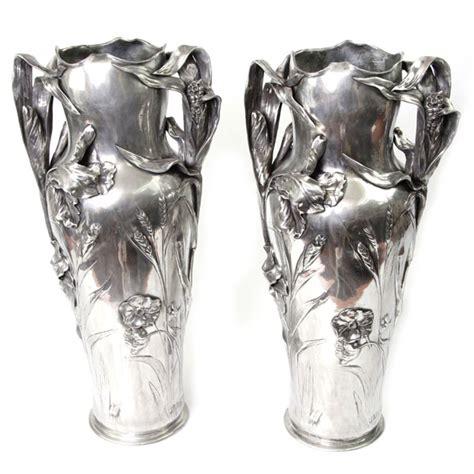 pewter floor vases pair of nouveau pewter floor vases jr hannig fx