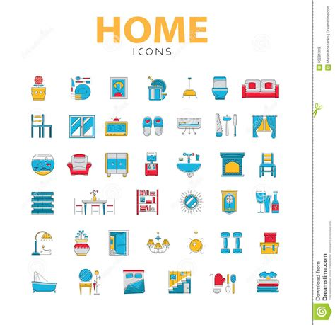 home design 3d objects home icons house related objects vector icons in color line s stock vector illustration
