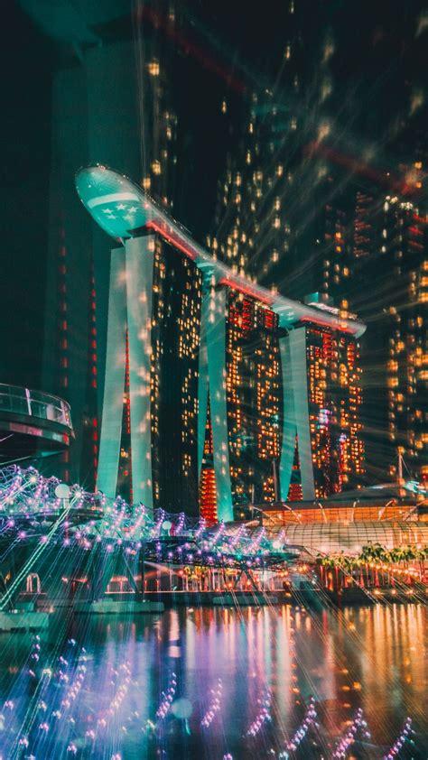 singapore night building wallpaper
