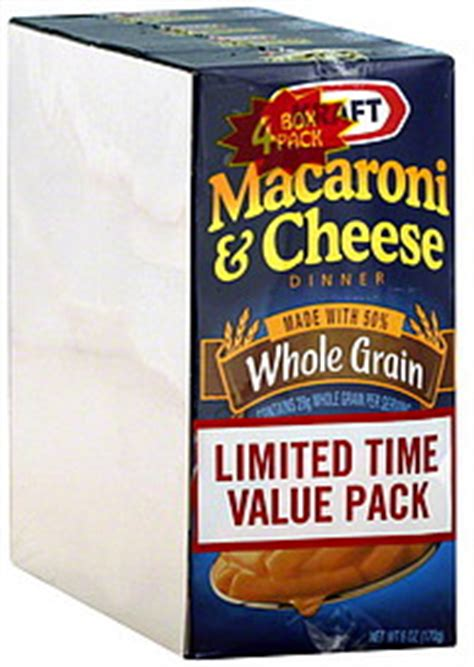 whole grain kraft macaroni and cheese nutrition kraft macaroni cheese dinner whole grain 4 0 ea