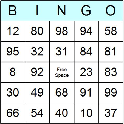 99 Gift Card - numbers 1 to 99 bingo cards printable bingo activity game and templates