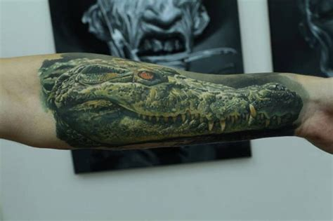 tatouage bras r 233 aliste crocodile par kwadron tattoo gallery