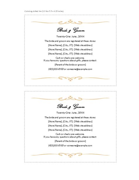 registry card template word wedding invitation wording wedding invitation templates