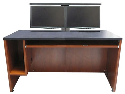 Computer Desk For Dual Monitors Ds 6030 Computer Desk With Dual Monitor Lift Exact Furniture Av Iq