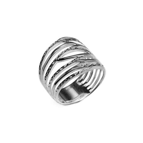 rhodium plated sterling silver italian ring rings