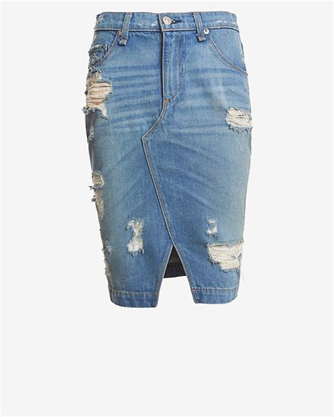 rag bone jean shredded denim skirt at intermix shop