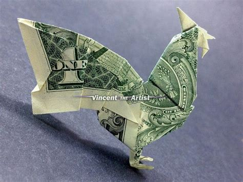 Won Park Origami Book - dollar bill origami rooster designed by montroll