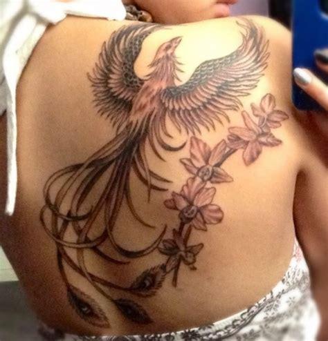 phoenix tattoo with orchids snygga tatueringar