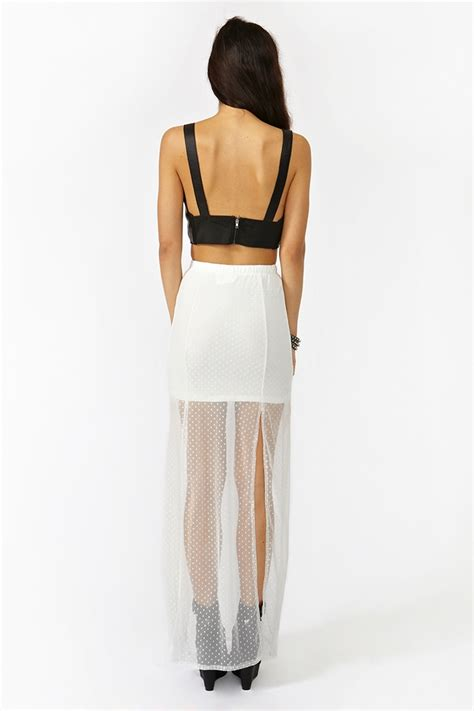 gal split lace maxi skirt in white lyst