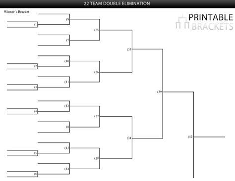 22 team double elimination bracket printable brackets