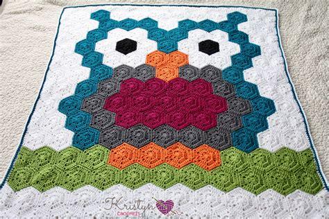 Crochet Owl Pattern Blanket by Owl Crochet Hexagon Blanket Kristyn Crochets
