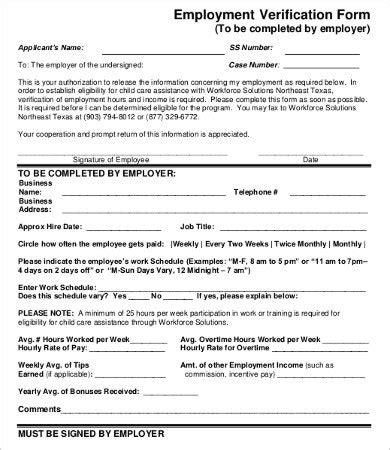 Employment Verification Letter Dcf employee verification form creative cruzrich