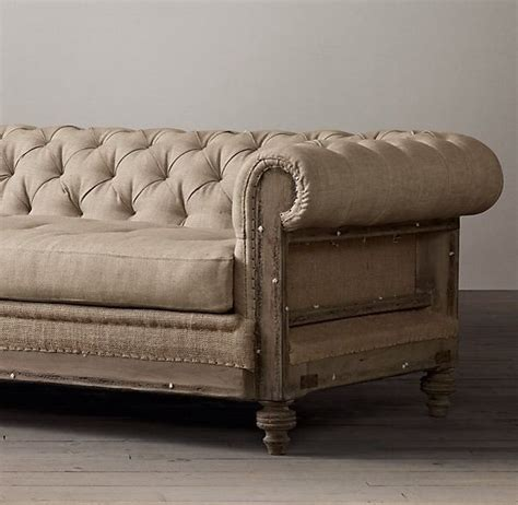 Chesterfield Sofa Restoration Hardware Restoration Hardware 8 Deconstructed Chesterfield Sofa Belgian Linen