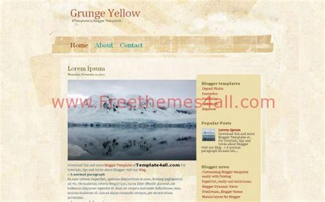 blogger themes yellow free grunge vintage yellow blogger theme template download
