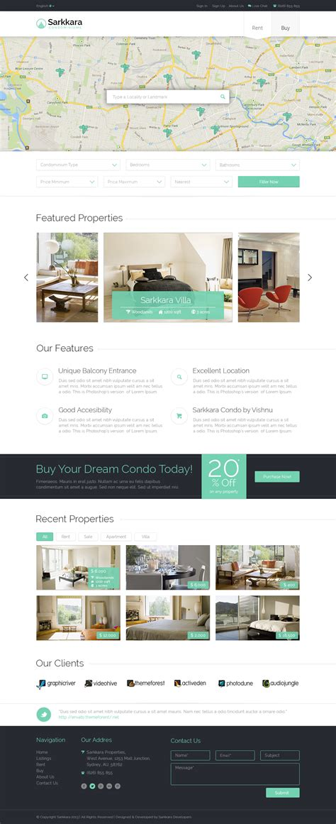 Sarkkara Condominiums Psd By Vishnusathyan Themeforest Condo Website Templates
