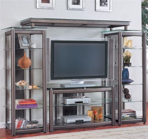 entertainment shelving units living room ideas contemporary sleek grey entertainment