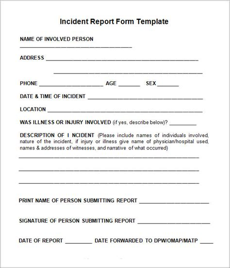 incident forms templates incident report template 15 free documents in