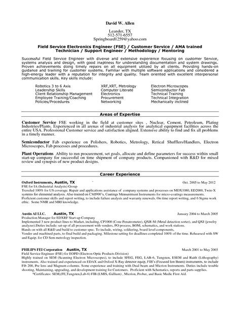 field technician resume sle hp field service engineer sle resume school