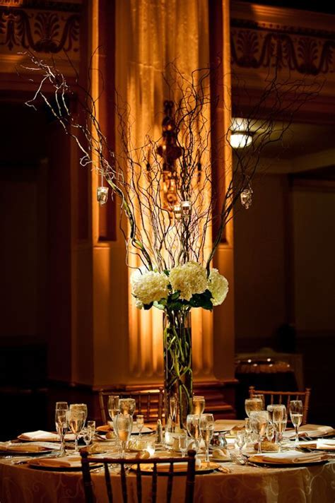 Tall Centerpieces; Rustic and Romantic White Hydrangea