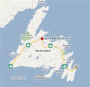 road map of newfoundland canada riverwood inn
