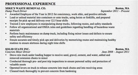 the road ready truck driver resume alltruckjobs