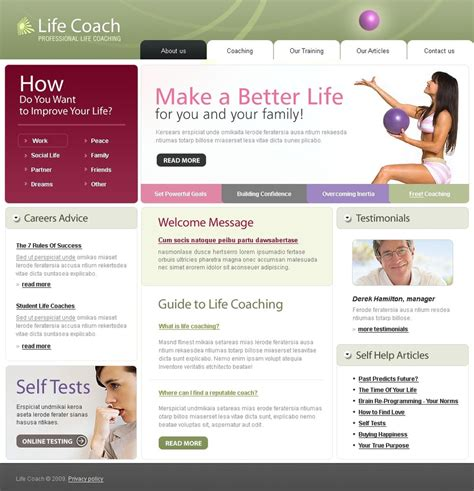 Life Coach Website Template 23703 How To Create Html Website Template