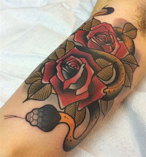 neotraditional snake and roses by dannii garbiras guesting