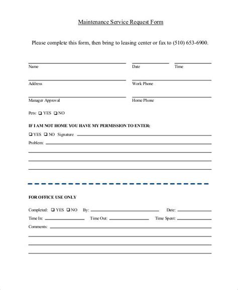 41 Sle Service Forms Sle Templates Service Request Form Template