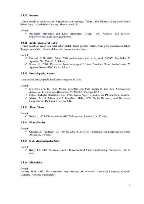 penulisan daftar pustaka bersumber dari undang undang tata cara penulisan pustaka