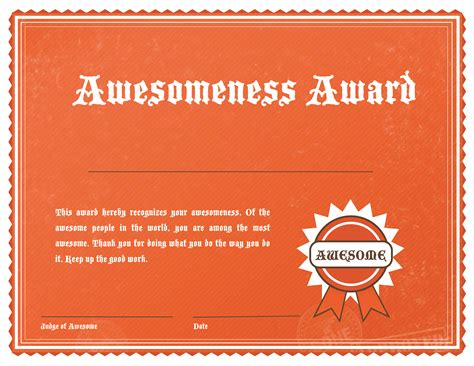 certificate of awesomeness template awesome award template images