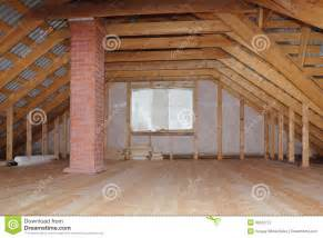 house attic attic with chimney in wooden house under construction