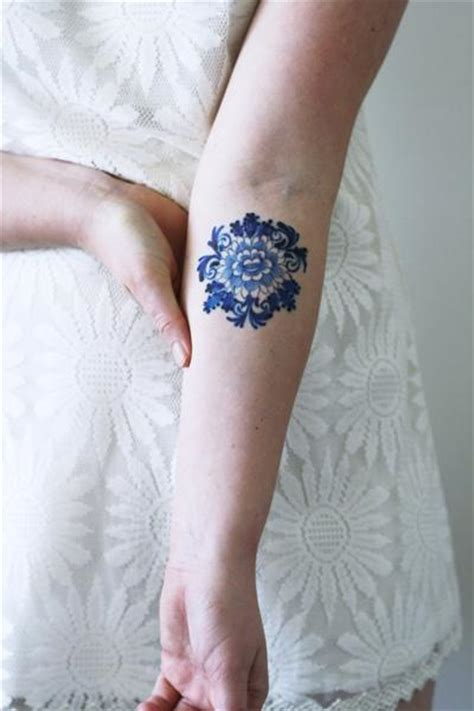 small blue flower tattoo delfts blue flower temporary tattoos by