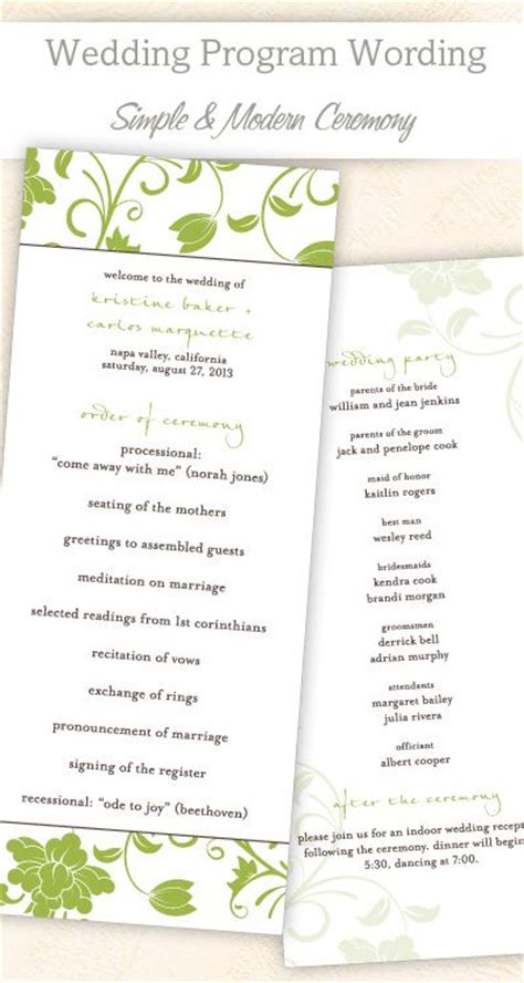 wedding program wording templates program template