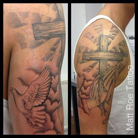 half sleeve tattoo with cross religious praying dove clouds adding to