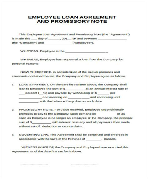 Sle Of Loan Letter To Employee Agreement Letter Formats