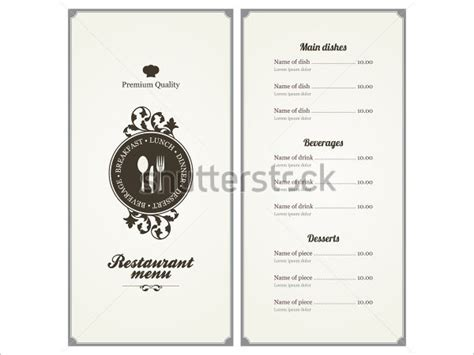 template for menu card design menu card templates 58 free word psd pdf eps