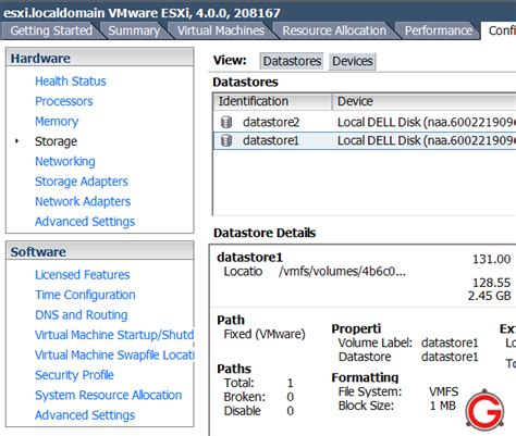 Mba Configuration Menu Dell Esxi by Vmware Esxi 4 How To Add Vmfs Datastore Using Vsphere