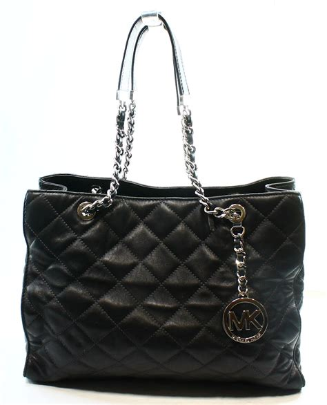 michael kors new black leather quilted large shoulder tote