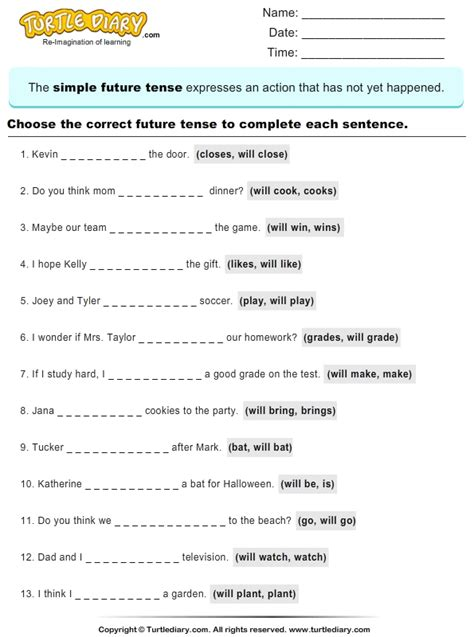 question future simple tense all worksheets 187 simple future tense worksheets pdf