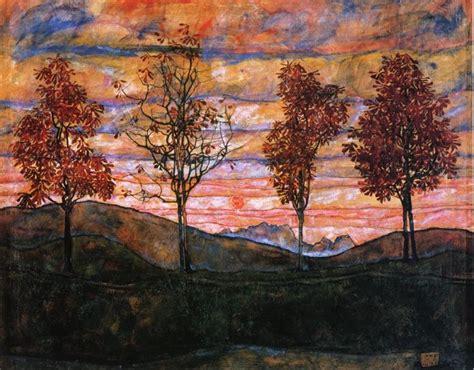Four Trees 1917 Egon Schiele Wikiart Org