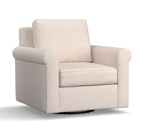 swivel armchairs upholstered cameron roll arm upholstered swivel armchair pottery barn