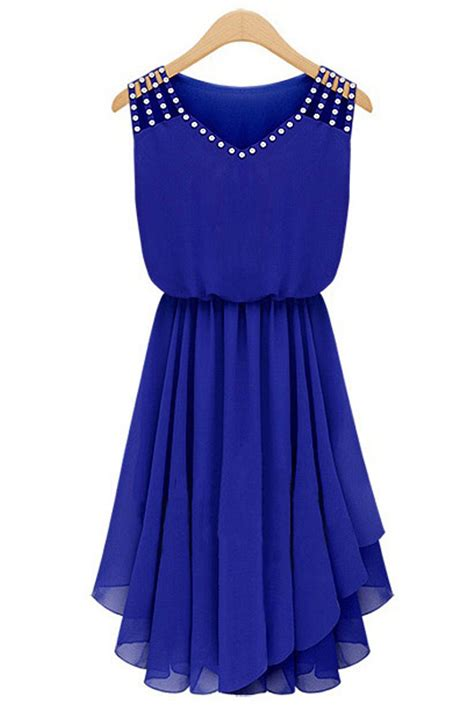 beaded blue dress tomcarry womens beaded chiffon sleeveless dress blue