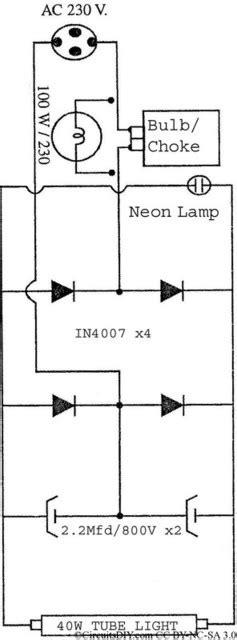 circuit diagram of electronic choke electronic choke circuit to run broken filament 40watt