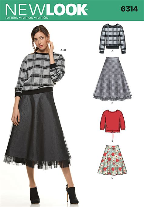 pattern review best of 2014 new look 6314 misses skirt in two lengths with knit tops