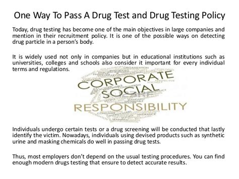 one way to pass a test and testing policy
